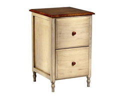 Office Star - File Cabinet w 2 Drawers in Antique White & C - Warm and inviting with a charming, country inspired appeal, this cottage style file cabinet will be a stylish addition to any decor. Constructed of wood in antique white and cherry finish, the cabinet has two storage drawers and is slightly distressed for a timeless, vintage look. Eye catching antique white and cherry finish on select veneers and solids. Timeless design compliments most any decor. Two file drawers with letter file suspension system. Ample top shelf can be used for printer stand. Distinctive multi-step finish process. Easy assembly. 19 in. W. x 20.25 in. L x 30 in. H