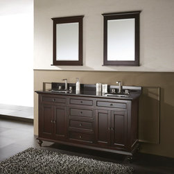Avanity Corporation - Avanity MERLOT-VS60-ES Merlot 60-in. Double Bathroom Vanity with Optional Mirror - Shop for Bathroom from Hayneedle.com! Like the wine itself the Avanity Merlot 60-in. Single Bathroom Vanity with Optional Mirror is a rich and complex offering. A dark espresso finish enhances the natural character of the solid birch frame which houses three soft-close storage drawers and a storage compartment beneath each sink hidden behind two soft-close doors (with black brass hardware). Capping this off is the stone countertop fitted for two undermount sinks and two faucets (not included); the countertop is available in your choice: beige marble black granite or white marble. Adjustable height levelers are included for uneven floors. This piece comes with an option of two 24- or two 30-inch mirrors (Dimensions: 24W x 2.2D x 33H inches; 30W x 2.3D x 40H inches respectively) with matching birch-and-espresso finish or no mirrors at all. About Avanity CorporationAvanity's goal has always been to provide the public with the best products possible at the fairest prices. To this end their customer service style is about listening to their customer not just hearing them. Avanity is confident in their products ensuring each of them has a one-year manufacturer's warranty. Avanity also takes note of increasing market trends to stay ahead of the game and provide the most cutting-edge products available.