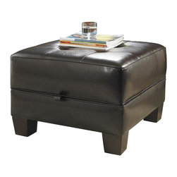 Riverside Furniture - Leather Occasional Square Ottoman Cocktail Table - Color: Bradford Brown