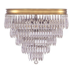 Crystorama - Crystorama-125-Chloe - Three Light Ceiling Mount - The clear crystal accents that adorn the brass banding compliment this antique inspired series to give the Chloe Collection a fashion forward flare.