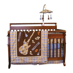 Trend Lab - Trend Lab Rockstar 4-Piece Crib Bedding Set - Give your baby rockstar dreams with this musical bedding set. Let them rock out with the pattern of guitars, spatter paint and musical notes in playful colors of brown, blue, orange and tan. Cotton and Sherpa fleece give your little one a soft landing when they're tired from a day of being a baby superstar.