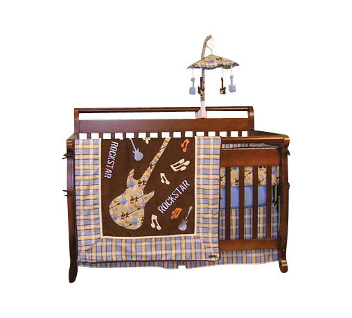 Trend Lab - Rock Star 4-Piece Crib Bedding Set - Give your baby rockstar dreams with this musical bedding set. Let them rock out with the pattern of guitars, spatter paint and musical notes in playful colors of brown, blue, orange and tan. Cotton and Sherpa fleece give your little one a soft landing when they're tired from a day of being a baby superstar.