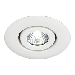 "Juno - Juno 4"" Low Voltage White Gimbal Recessed Light Trim - From Juno Lighting comes this low voltage flush gimbal recessed trim. The white finish light allows you to accent your paintings or any other piece of art work with its 40 degree vertical adjustment. The minimalist style will fit nicely in your decor. To be used with Juno recessed light housing. Takes one 50 watt MR16 bulb (not included). 4"" wide.  White gimbal trim.  Low voltage.  Rated for use with one 50 watt MR16 bulb (not included).   4"" wide."