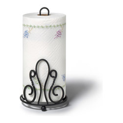 Spectrum Diversified Designs - Patrice Paper Towel Holder - Black - Our black Patrice Paper Towel Holder holds regular and jumbo sized paper towel rolls. The wide sturdy base prevents the unit from tipping while in use. Made of sturdy steel with a fleur de lis motif.