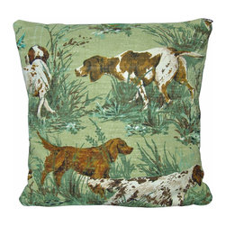 """mid Century Home USA - Hunting Pillow Cover Barkcloth """"The Hunt"""" Fox Hunt Vintage Retro 1950's - This pillow cover is made from heavy, nubby barkcloth fabric from the 1950's and depicts a hunting scene complete with hunting dogs. This fabric is very special!  The colors are shades of brown cream, soft greens on a muted soft green backdrop. The back of this pillow is finished in a cream duck cloth.  Size is 17"""" X 17"""", use a 18"""" insert for a plump pillow.  The seams are professionally serged to prevent fraying.  The pillow insert is NOT included."""