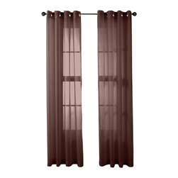 """HLC.ME - HLC.ME 2 Piece Sheer Window Curtain Grommet Panels, Chocolate Brown - Sheer Curtain Grommet Panels will liven up your indoor or outdoor spaces with a sense of airiness and beauty. Made from solid color polyester voile. Our luxurious sheer grommet panels gives your home a new elegant look. Allows natural light to flow through the room. Each panel is 54"""" in Width and 84"""" in Length. For a full look use 2 panels to cover a standard size window. This picture shows two sheer grommet panels  this package contains two (2) Sheer Grommet Panels."""