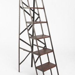Folding Library Bookshelf - Looking for a new way to shelve your leftover textbooks? I love how this industrial ladder can be unfolded to display whatever knicks and knacks I want to show off.