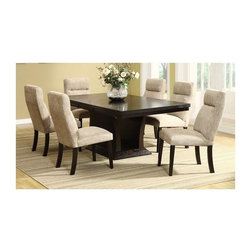 Homelegance - Avery 5-Pc Dining Table Set - Includes table and four side chairs. Contemporary style. Rectangular shape table. 18 in. extension leaf. Flared open base. Upholstered back and seat. Headrest. Luxurious comfort. Made from ash veneers and linen. Rich espresso finish. Table minimum: 60 in. L x 42 in. W x 30 in. H. Table maximum: 78 in. L x 42 in. W x 30 in. H. Chair: 20.5 in. W x 27.25 in. D x 38.25 in. HDine in style and comfort with the Avery Collection. The Avery Collection will add comfort and style to your home dining experience.