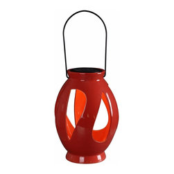 Kenroy - Kenroy RED Leaves LED Solar Lantern, #60525 - A great outdoor decor accent by day and an instant table top or hanging light source by night. These lanterns feature a removable circular solar disc which when placed in optimal sun location will constantly store a charge to the included NiMH internal battery and provide hours of nighttime lighting for those relaxing evenings on your patio or deck. Includes powder coated wire handle for hanging.