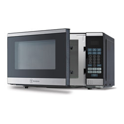 None - Westinghouse Black / Stainless Steel 0.7 Cubic Feet Microwave - This Westinghouse Microwave Oven with a black front and a cabinet with stainless steel front will be perfect in any modern kitchen. Push button touch controls with green LED display makes it easy to view your cooking options.