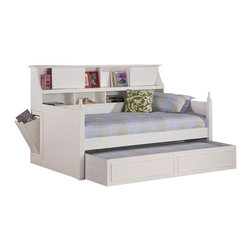 Coaster - Coaster Daisy Bookcase Wood Daybed with Under-Bed Trundle in White - Coaster - Daybeds - 300480400489KIT - The Daisy collection is designed to fit the lifestyle of any young lady. This attractive group features two bed options a panel bed and a day bed. The matte white finish is airy creating a bright and light space that everyone can enjoy. With plenty of convenient storage options and versatile pieces that will grow with your child this collection has a lot to offer.