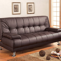 Coaster - Brown Contemporary Sofa Bed - Brown vinyl futon sofa that folds down for easy and comfortable use of a bed with easily removable arm rests.