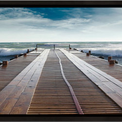 Elementem - Into The Waves Framed Print - Into the Waves is a framed perspective piece in our popularPerspectives Series.  The ocean lies in wait at the end of the dock, in all its power.  The colors of this piece are truly unique, a rust-colored dock meets the turquoise ocean for an amazing picture.