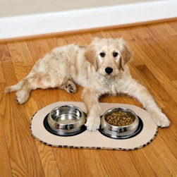 Schroeder & Tremayne, Inc - The Original Taupe Pet Bowl Mat in Medium - The Original Pet Bowl Mats are super absorbent to help protect floors from splashes and spills.