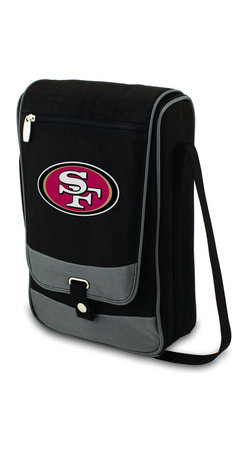 "Picnic Time - San Francisco 49ers Barossa Wine Tote in Black - The Barossa is so sleek and sophisticated, you'll want to take it with you every chance you get. It's made of 600D polyester and features an adjustable shoulder strap that makes it easy to carry and a flat zippered pocket on the exterior flap. The Barossa is fully insulated to keep your wine the perfect temperature and has a divided interior compartment to separate your bottle of wine from the 2 (8 oz.) acrylic wine glasses included. Also included are: 1 stainless steel waiter style corkscrew, 1 bottle stopper (nickel-plated), and 2 napkins (100% cotton, 14 x 14"", Black with silver pinstripe). The Barossa wine tote is perfect for picnics, concerts, or travel and makes a wonderful gift for those who enjoy wine.; Decoration: Digital Print; Includes: 20 stainless steel waiter style corkscrew, 1 bottle stopper (nickel-plated), and 2 napkins (100% cotton, 14 x 14"", Black with silver pinstripe)"