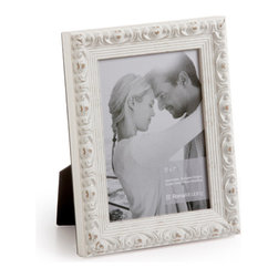 """Origin Crafts - Vintage white wood picture frame - Vintage White Wood Picture Frame Amongst the twenty arrondissements or districts that make up Paris there is a former fortress which stands proud as the focal point of district number one ? the Louvre. A majestic masterpiece where priceless art is encased in classic elegance, founded in the spirit of authentic French tradition. It was here in the Louvre, inspired by its magnificence and contribution to modern culture that Vintage was born. Dimensions (in): Width: 1 1/4, Height: 1 Holds (4""""x6"""", 5""""x7"""", 8""""x10"""") photos. By Roma Moulding - Roma Moulding uses only the highest quality materials. Roma owes it?s renown to exquisite details: meticulous applications of gold and silver leafing, genuine woods, exotic veneers, patinas, superior lacquers and finishes all done by hand. Roma employs time proven techniques to achieve the stunning finishes other manufacturers strive to achieve. Ships within Five Business Days."""
