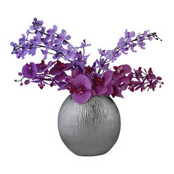 Laura Cole - Isadora Silk Floral Arrangement with Phalaenopsis Orchids - Simple yet elegant. The Orchid is truly a classic beauty, with an understated radiance. Whether it's for a dining room or a study, this Phalaenopsis Orchid arrangement will enhance the decor without dominating it.