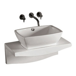 Whitehaus Collection - Whitehaus WHKN1065-1116 White Ceramic Bathroom Basin and Wall Mount Counter - Whitehaus Collection bathroom sinks are modern sleek and stylish. A great option for anyone that wants a unique and eye catching bathroom design!