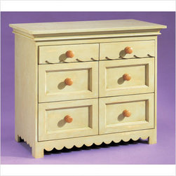 Alligator - Scallop Six Drawer Dresser   All Modern Baby - This compact six-drawer dresser adds a sweet touch to a room while keeping clutter at bay. Whether used for clothing or random toys and objects, this dresser offers a straightforward sweetness with simple round knobs and scallops.