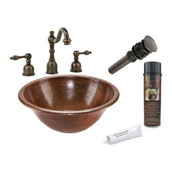 Premier Copper Products - Round Self Rimming Copper Sink w/ ORB Faucet - PACKAGE INCLUDES: