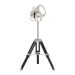Casa Cortes - Industrial Adjustable Studio Tripod Table Lamp - Bring the look of a vintage photography studio into your home with the unique style of this adjustable tripod table lamp. A metal shade with protective glass tilts while the pole extends from the black wood tripod to adjust the height. Adjustable screws turn to lock in the chosen height.