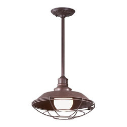 "Troy - Circa Collection 41"" High Outdoor Hanging Light - A rugged look inspired by early 20th century industrial lighting designs this piece will give a new dimension to your outdoor spaces. Ideal for entryway areas it features an old rust finish over a hand-forged and cast iron frame and wall plate. A classic wire mesh industrial encloses the bulb. Takes one 100 watt bulb (not included). 12"" wide. 9 1/2"" high.  Old rust finish.  Takes one 100 watt globe bulb (not included).   12"" wide.  41"" max Height. Adjustable rods."