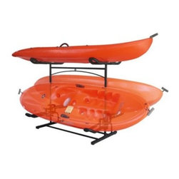 Stoneman Sports Laguna Plus Kayak Storage Rack - After riding the rapids, the best place to keep your kayak or canoe high and dry is the Stoneman Sports Laguna Plus Kayak Storage Rack. This is a single-sided free-standing steel rack with a low center of gravity so you don't have to worry about it toppling. Store one boat up high or two down low - pictures shows 3 possible placements. Measures 48W x 25D x 42H inches and includes two sets of high density foam padded cradles.About Stoneman SportsNot every sporting goods company understands the rugged terrain or the risks that go into the outdoor sports lifestyle. Stoneman Sports gets it! They specialize in developing high-quality product lines that bring innovation and simplicity to the activities you love so well. Cycling, kayaking, even grilling - if it's fun to do outside, Stoneman Sports is streamlining the technology for today's market.
