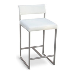 Gus Modern - Graph Stool by Gus Modern - Vinyl Coal - A modern, counter-height stool with an architectural-inspired stainless steel frame and an upholstered seat and back. Clean lined, modern, and durable.