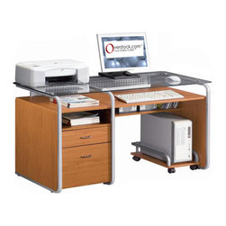 None - Deluxe Glass-top Computer Desk with File Drawer - Give your office a stylish, contemporary new look with this modern glass-top computer desk. This desk is crafted from medium-density fiberboard for rugged durability and features a functional design with a file cabinet drawer to help you get organized.