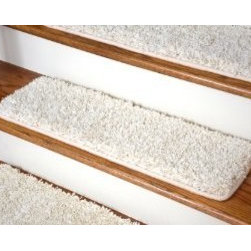 """Dean Flooring Company - Dean Serged DIY Premium Carpet Stair Treads 30"""" x 9"""" - Deluxe Ivory Shag - (13) - Dean Serged DIY Premium Carpet Stair Treads 30"""" x 9"""" - Deluxe Ivory Shag - Set of 13 : Quality, Stylish Carpet Stair Tread Rugs by Dean Flooring Company Extend the life of your high traffic hardwood stairs. Reduce slips/increase traction (your treads must be attached securely to your stairs). Cut down on track-in dirt. Great for pets and pet owners. Helps your dog easily navigate your slippery staircase. 100% Luxurious polypropylene shag carpet. Set includes 13 carpet stair treads. Each tread is serged around the edges with beautiful color matching yarn. Rounded corners. No bulky fastening strips. You may remove your treads for cleaning and re-attach them when you are done. Add a touch of warmth and style and a fresh new look to your stairs today with new carpet stair treads from Dean Flooring Company! This product is designed, manufactured, and sold exclusively by Dean Flooring Company.  Installation products are sold separately (we recommend our exclusive double-sided mesh tape)."""
