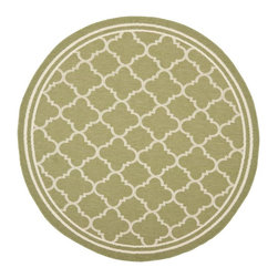 """Safavieh - Indoor/Outdoor Courtyard Round 5'3"""" Round Green - Beige Area Rug - The Courtyard area rug Collection offers an affordable assortment of Indoor/Outdoor stylings. Courtyard features a blend of natural Green - Beige color. Machine Made of Polypropylene the Courtyard Collection is an intriguing compliment to any decor."""