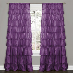 "Lush Decor - Ruffle Purple Window Curtain - Includes: 1 Panel. Color: Purple. Panel: 50""W x 84""H. No lining. 3"" Rod Pocket. Machine Wash. . Fabric Content: 100% PolyesterTurn any room from ordinary to incredibly special when you add our Ruffle Window curtains. Beautifully flowing layers of brushed poly with hand constructed ruffle details. So feminine, so pretty and so flexible. they work anywhere in your home."