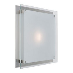 Access Lighting - Two-Light Halogen Sconce or Flushmount Ceiling Light - 50032-BS/FST - Contemporary / modern brushed steel 2-light bathroom light. This square modern sconce can be installed either on the wall or the ceiling as a flushmount. Takes (2) 150-watt halogen bulb(s). Bulb(s) sold separately. Damp location rated.