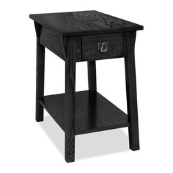 Leick Furniture - Favorite Finds Mission Chairside Table w Shel - 1 Bottom shelf. 1 Drawer. Blackened, metal ware pull. Durable wood drawer box and guide. Canted post with wedge corbel. Narrow shape is ideal next to recliners. Solid Ash and Oak veneers. 24 in. W x 15 in. D x 24 in. H