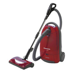 "Panasonic Consumer - Panasonic MC-CG902 Full Size Bag Canister Vacuum Cleaner, Burgundy - Canister Vacuum with HEPA Filter; ""Best Buy"" rating in latest Consumer Report; Multiple tool attachments are recessed on top of the canister for easy access during cleaning; No time is wasted searching for the tool you need; Just lift the cover and its right within your reach; Agitator and suction motors offer combined 12 amps of cleaning performance; with the touch of a button the agitator is shut off for an easy transition to safe bare floor cleaning; A single touch activates the cord rewind mechanism making storage easy and convenient; Convenient carrying handle provides easy maneuverability and transportation."