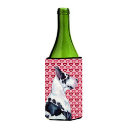 Caroline's Treasures - Great Dane Hearts Love and Valentine's Day Portrait Wine Bottle Koozie Hugger - Great Dane Hearts Love and Valentine's Day Portrait Wine Bottle Koozie Hugger LH9146LITERK Fits 750 ml. wine or other beverage bottles. Fits 24 oz. cans or pint bottles. Great collapsible koozie for large cans of beer, Energy Drinks or large Iced Tea beverages. Great to keep track of your beverage and add a bit of flair to a gathering. Wash the hugger in your washing machine. Design will not come off.