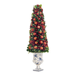 Winward Home - Apple Berry Holiday Cone - Complement any Christmas decoration with a charming Apple Berry Holiday Cone for a heightened visual appeal.