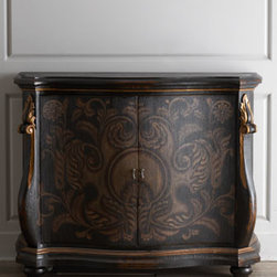 "Horchow - Wolhurst Pechon Chest - With its hand-painted ornate tone-on-tone design and appealing shape, this chest adds quiet elegance to an entryway, dining room, den, or any living area. Made of Peruvian oak and Chilean pine. Two doors. 58""W x 24""D x 45""T. Imported. Boxed weight..."