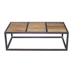 Kathy Kuo Home - Lisbeth Urban Rustic Reclaimed Elm Iron Rectangle Coffee Table - Do something sleek, stylish and environmentally correct in your decor — indoors or out. This clean, lean coffee table is made of reclaimed elm and iron to add an urban edge to your favorite space.