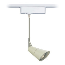 """Tech Lighting - Scania Linen 6"""" Tech Lighting Track Pendant - The Scania is a clean European-inspired pendant head that features a painted matte linen finish. The head rotates 360 degrees and pivots 180 degrees to direct the beam. Includes snap louver lens holder which holds a single lens or louver (sold separately). Included track adapter lets you connect this pendant to Lightolier track lighting systems. Includes a built-in 12 volt transformer that's concealed in the white finish housing. For use with Lightolier line voltage track systems. From Tech Lighting. Matte linen finish. Fully adjustable head. White finish adapter housing. For use with Lightolier line voltage track systems. Built-in 12V transformer. Takes one 50 watt MR16 halogen bulb (not included). Hangs 6"""" high. Head is 4 3/4"""" long. Adapter is 6"""" wide 1 3/4"""" high.  Matte linen finish.   Fully adjustable head.   White finish adapter housing.   Built-in 12V transformer.   For use with Lightolier track systems.  Takes one 50 watt MR16 halogen bulb (not included).   Adapter is 6"""" wide 1 3/4"""" high.  Hangs 6"""" high.   Head is 4 3/4"""" long."""