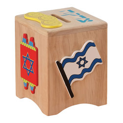 "KidKraft - Kidkraft Kids Pretend Play Jewish Children Toy Wooden Charity Tzedakah Box - In Judaism, tzedakah is the religious obligation to perform charity. Our colorful Tzedakah Box is a perfect way to teach young children about this valuable lesson. Dimension: 4""x 4""x 5""H"