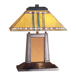 Meyda Tiffany - Prairie Corn Oblong Desk Lamp - Requires two 60 watt medium type bulbs. Mission southwest style. Stained glass shade. Has rows of chili red and wheat kernels. Stalks of bronzed jade against maize gold background. Base in mahogany bronze color. Shade in burgundy and beige color. Shade: 16 in. L x 10 in. W x 6.5 in. H. Overall: 16 in. L x 10 in. W x 20 in. H (58 lbs.). Care Instructionswith their love of geometric forms, architects of the prairie school interpret organic objects into simplified lines.