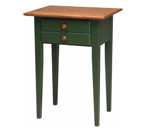 Renovators Supply - Lamp Tables Bayberry-Autumn Birch Homestead Lamp Table | 167129 - Lamp Table. This Homestead lamp table top is made of solid birch and is finished with our own luxurious hand-polished Autumn stain and protective Endura-finish. In contrast the legs and body are stained a Bayberry Green. Features one deep pull-out drawer adorned with a simple round knob. Measures 28 in. high x 21 in. wide x 16 1/4 in. deep.