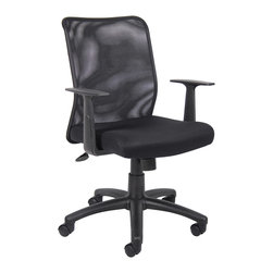 """Boss Chairs - Boss Chairs Boss Budget Mesh Task Chair with T-Arms - Mesh back designed to prevent body heat and moisture build up. Breathable mesh fabric seat with ample padding. Upright locking position. Adjustable tilt tension control. Pneumatic gas lift seat height adjustment. 25"""" nylon base. Hooded double wheel casters. T-arms."""
