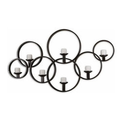 "Uttermost - Uttermost 07617  Kadoka Decorative Wall Candle Holder - This decorative wall candle-holder is made of hand forged metal with a rustic black finish. included are seven 3"" distressed ivory candles."