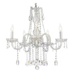 "AUTHENTIC ALL CRYSTAL CHANDELIERS LIGHTING CHANDELIERS H27"" X W24"""