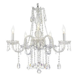The Gallery - Authentic all Crystal chandelier - Spark romance into your room with this exquisite chandelier. Dripping with crystals from its scalloped bobache, this light fixture easily takes it up a notch on the glamour scale.