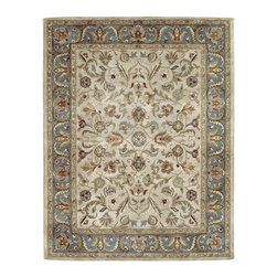 """Kaleen - Kaleen Mystic Collection 6001-01 3'6""""X5'3"""" Ivory - The Mystic Collection is inspired to be a new generation of Kaleen's legendary Mystical Garden Collection. Mystic is a statement of style, and personal taste.  Completely handcrafted from washed 100% virgin wool this collection of wonderful and delightful designs offers the flexibility and durability to handle today's hectic lifestyle while offering elegance and charm rarely seen.  Hand crafted in India."""