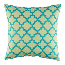 Rizzy Rugs - Rizzy Home Lime Green 18 Inch x 18 Inch Pillow Cover with Hidden Zipper - - Pillow Cover with Hidden Zipper  - Cotton Slub Fabric  - Embroidered Reverse Chain Stitch Details  - Primary Color - Lime Green  - Secondary Color - Aqua  -  Hand Wash in Cold Water. Lay Flat to Dry. Rizzy Rugs - T04067