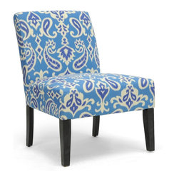 Wholesale Interiors - Phaedra Paisley Ikat Modern Slipper Chair - The power of paisley! Go a bit on the bold side with our Phaedra Paisley Ikat modern slipper chair. Set against a solid background, the blue, indigo and beige pattern really pops. black contoured legs convey a contemporary feel to a timeless pattern. Foam cushioning and linen fabric combine for comfort in a Chair that has all the makings of a fine accent.